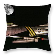 F-86 And The Moon Throw Pillow