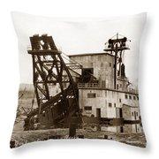 F. E. Co, Gold Drege No. 4 Near Fairbanks Alaska Circa 1958 Throw Pillow