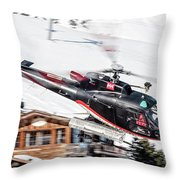 F-gsdg Eurocopter As350 Helicopter Courchevel Throw Pillow