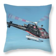 F-gsdg Eurocopter As350 Helicopter In Blue Sky  Throw Pillow