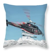 F-gsdg Eurocopter As350 Helicopter Over Mountain Throw Pillow