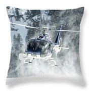 F-hana Eurocopter Ec-130 Landing Helicopter At Courchevel Throw Pillow