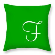 F In White Simple Script Throw Pillow