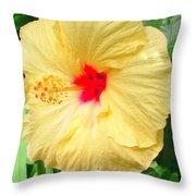 F12 Yellow Hibiscus Throw Pillow