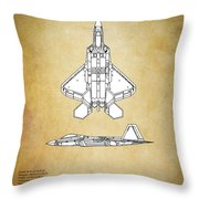 F22 Raptor Blueprint Throw Pillow