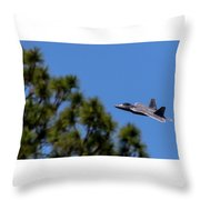 F22 Raptor Flying Low Throw Pillow
