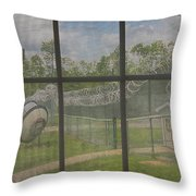 Prison Yard With Razor Wire, Guard House And Satellite Dish Throw Pillow