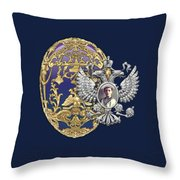 Faberge Tsarevich Egg With Surprise On Blue Velvet Throw Pillow