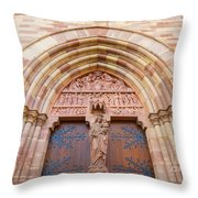 Facade Church Of Obernai,alsace France 073540 Throw Pillow