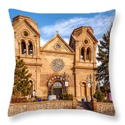 Facade Of Cathedral Basilica Of Saint Francis Of Assisi - Santa Fe New Mexico Throw Pillow