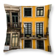 Facades Of Porto Throw Pillow