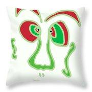 Face 3 On White Throw Pillow