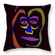 Face 5 On Black Throw Pillow