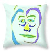 Face 5 On Light Blue Throw Pillow
