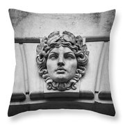 Face In Stone Throw Pillow