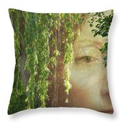 Face In The Willows Throw Pillow