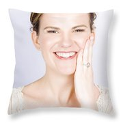 Face Of A Smiling Bride With Perfect Makeup Throw Pillow