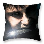Face Of Fear And Danger Throw Pillow