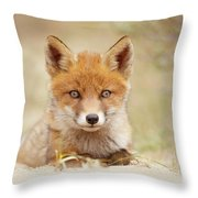 Face Of Innocence - Red Fox Kit Throw Pillow