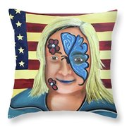 Face Paint And Freedom Throw Pillow