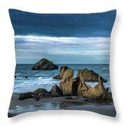 Face Rock Beach  Throw Pillow