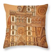 Faced Of Florence Cathedral  Throw Pillow