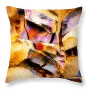 Faces In Stone Throw Pillow