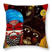 Faces Of Africa Throw Pillow