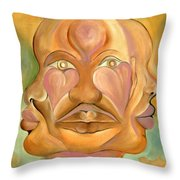 Faces Of Copulation Throw Pillow by Ikahl Beckford