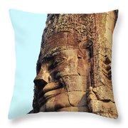 Faces Of The Bayon Temple - Siem Reap, Cambodia Throw Pillow