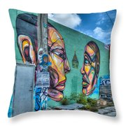 Faces On The Wall Throw Pillow