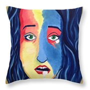 Facial Or Woman With Green Eyes Throw Pillow