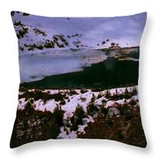 Facinating American Landscape   Snow Mountains Mini Lakes Winter Storms Welcome Trips To Nature Throw Pillow