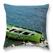 Faded Green Yellow Motor Power Boat Parked At Satpara Lake Pakistan Throw Pillow