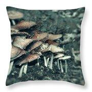 Faded Mushrooms Parade  Throw Pillow
