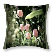 Faded Tulips Throw Pillow