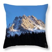 Fading Afternoon Sun Illuminates Mountain Peak  Throw Pillow