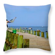 Fairhope Fisherman With Cast Net Throw Pillow