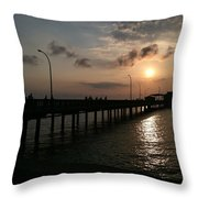 Fairhope Pier At Dusk Throw Pillow