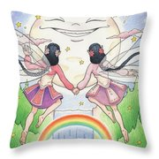 Fairies In Moonlight Throw Pillow by Amy S Turner