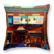 Fairmount Bagel By Montreal Streetscene Painter Carole  Spandau Throw Pillow