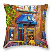 Fairmount Bagel Fairmount Street Montreal Throw Pillow