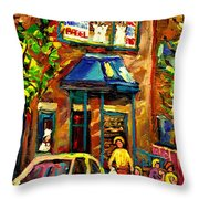 Fairmount Bagel In Montreal Throw Pillow