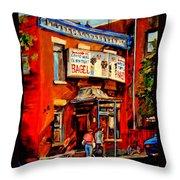 Fairmount Bagel Montreal Throw Pillow