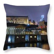 Fairmount Waterworks And Art Museum At Night Throw Pillow
