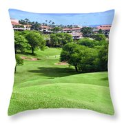 Fairway At Dunes Of Maui Lani  Throw Pillow