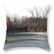 Fairway Hills - 7th - Beware Of The Tree And The Pond Panorama Throw Pillow