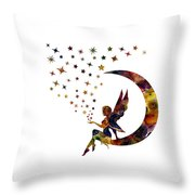 Fairy And Stars Throw Pillow by Michael Colgate