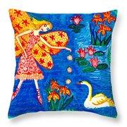 Fairy Feeding Swan Throw Pillow