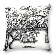 Fairy Hacienda With Floral Roof Throw Pillow